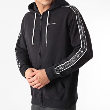 Champion - Sweat Zippé Capuche A Bandes 215187 Noir