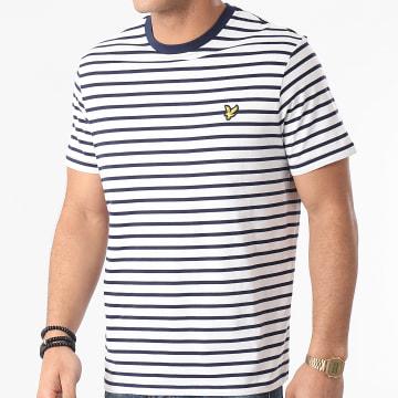 Lyle And Scott - Tee Shirt A Rayures TS508VB Blanc Bleu Marine
