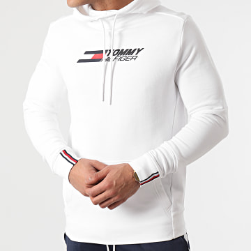 Tommy Sport - Sweat Capuche Terry Logo 8458 Blanc