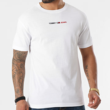 Tommy Jeans - Tee Shirt Linear Logo 0219 Blanc