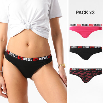Diesel - Lot De 3 Strings Femme 00SE0K-0ACAQ Noir Rose
