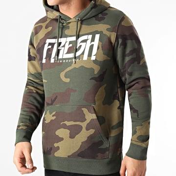 Fresh La Douille - Sweat Capuche Camouflage Logo Vert Kaki