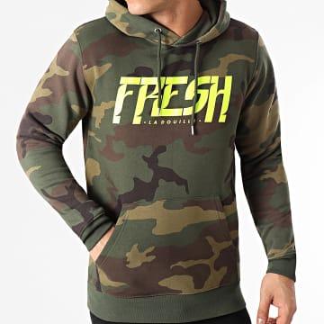Fresh La Douille - Sweat Capuche Camouflage Logo Vert Kaki Jaune Fluo