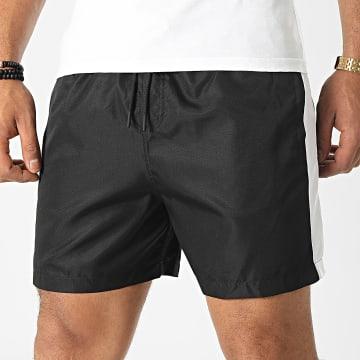 LBO - Short Jogging Diamanté A Bandes Blanc 0048 Noir