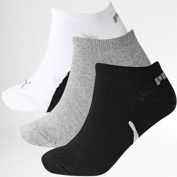 Puma - Lot De 3 Paires De Chaussettes Sneaker 100000956 Blanc Noir Gris Chiné