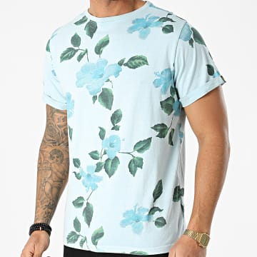 American People - Tee Shirt Tamiz Bleu Clair Floral