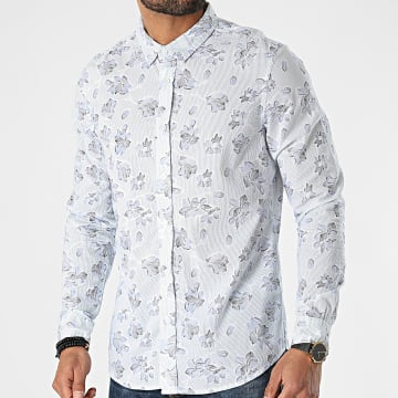 American People - Chemise Manches Longues Concorde Bleu Clair Floral