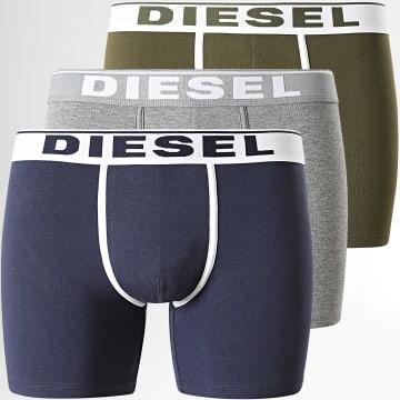 Diesel - Lot De 3 Boxers Sebastian 00SKME-0JKKC Vert Kaki Bleu Marine Gris Chiné