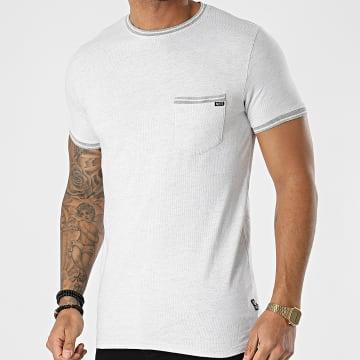 MZ72 - Tee Shirt Poche Trame Blanc Gris Chiné