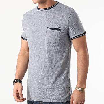 MZ72 - Tee Shirt Poche Trame Bleu Clair Chiné