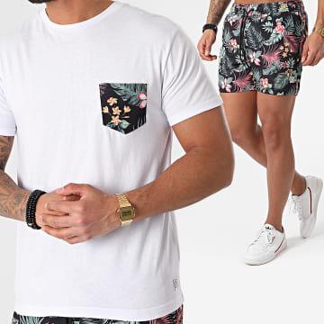 MZ72 - Ensemble Tee Shirt Poche Short De Bain Pack Men Beach Blanc Noir Floral