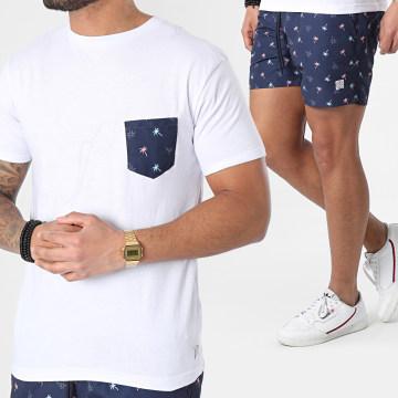 MZ72 - Ensemble Tee Shirt Poche Short De Bain Pack Men Beach Blanc Bleu Marine Floral