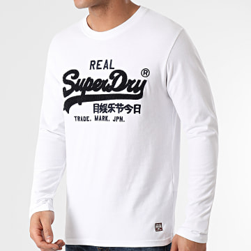 Superdry - Tee Shirt Manches Longues Chenille Blanc