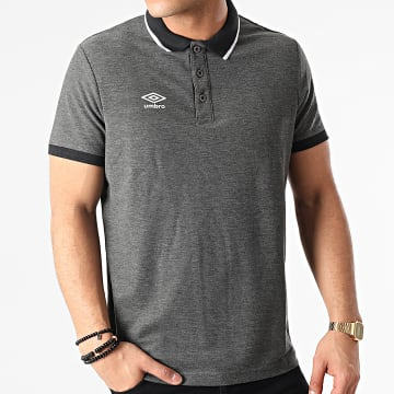 Umbro - Polo Manches Courtes Net Gris Anthracite Chiné