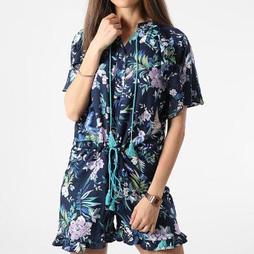 Girls Only - Combishort Floral Saphyr Bleu Marine