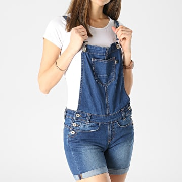 Girls Outfit - Salopette Short Jean Femme Shift Bleu Denim