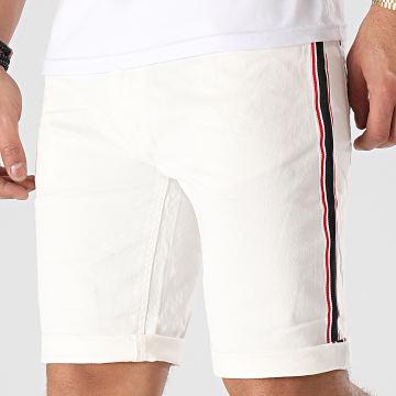 MZ72 - Short Jean A Bandes Fold Blanc