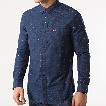 Tommy Jeans - Chemise Manches Longues Slim Dobby 0153 Bleu Marine