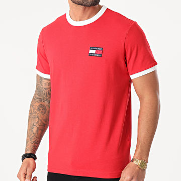 Tommy Jeans - Tee Shirt Badge Ringer 0280 Rouge