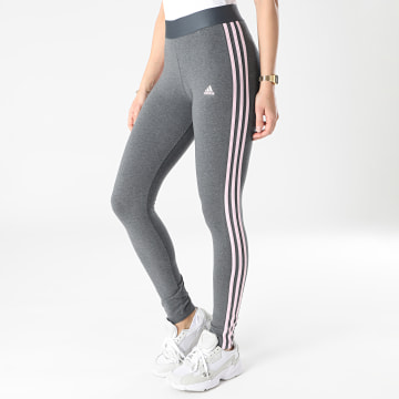 Adidas Performance - Legging Femme A Bandes GL0760 Gris Anthracite Chiné Rose