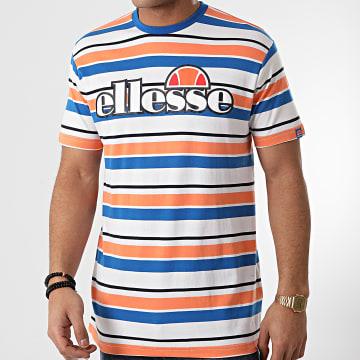 Ellesse - Tee Shirt A Rayures SHF09085 Blanc Orange Bleu