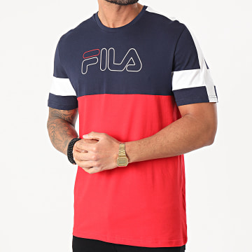 Fila - Tee Shirt Jadon Blocked Tape 683257 Rouge Bleu Marine Blanc