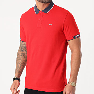Tommy Jeans - Polo Manches Courtes Detail Rib Jaquard 0326 Rouge