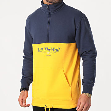 Vans - Sweat Col Zippé MN Frequency Bleu Marine Jaune
