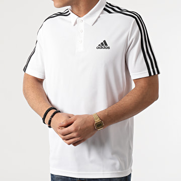 Adidas Performance - Polo Manches Courtes A Bandes 3 Stripes GM2138 Blanc