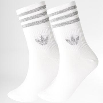 Adidas Originals - Lot De 2 Paires De Chaussettes Crew GU2383 Blanc Réfléchissant