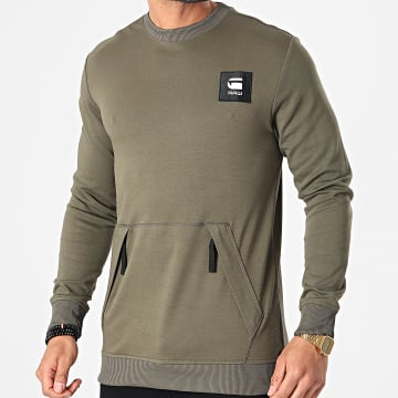 G-Star - Sweat Crewneck Box Logo Pocket Tweater D19235-C584 Vert Kaki