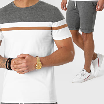 LBO - Ensemble Tee Shirt Et Short 1560 Gris Anthracite Camel Blanc