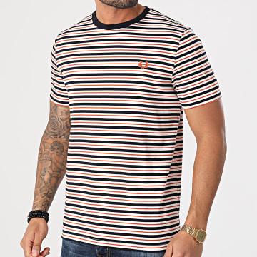 Fred Perry - Tee Shirt A Rayures Fine Stripe M1608 Blanc Bleu Marine Orange