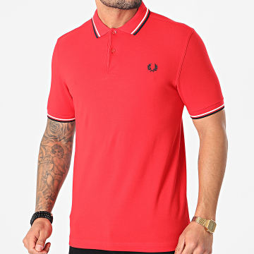 Fred Perry - Polo Manches Courtes Twin Tipped M3600 Rouge