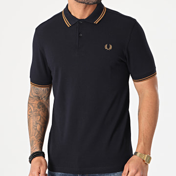 Fred Perry - Polo Manches Courtes Twin Tipped M3600 Bleu Marine Marron