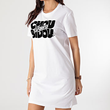 Booshra Et Mamad - Robe Tee Shirt Femme Choubidouwawa Blanc