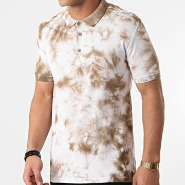 Ikao - Polo Manches Courtes LL357 Beige Blanc