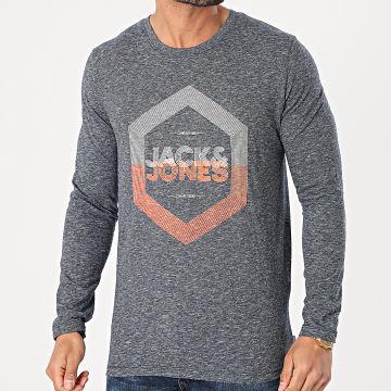 Jack And Jones - Tee Shirt Manches Longues Delight Bleu Marine Chiné