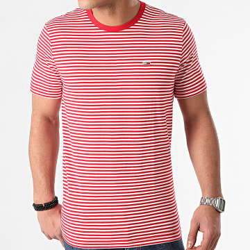 Tommy Jeans - Tee Shirt A Rayures Tommy Classics Stripe 5515 Rouge Blanc