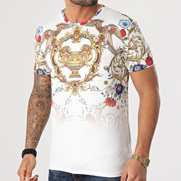 Zayne Paris  - Tee Shirt Floral Renaissance E249 Blanc