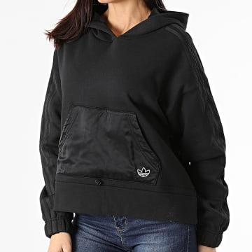 Adidas Originals - Sweat Capuche Femme A Bandes Boxy GN3102 Noir
