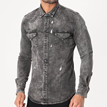 Classic Series - Chemise Jean Manches Longues 3147 Gris Anthracite