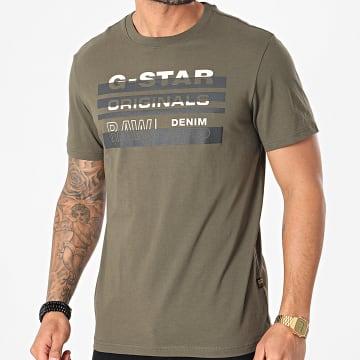 G-Star - Tee Shirt Original Stripe D19268-336 Vert Kaki