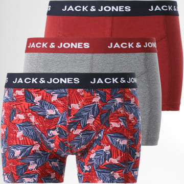 Jack And Jones - Lot De 3 Boxers flamingo 12192800 Bordeaux Gris Chiné
