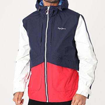 Pepe Jeans - Veste Zippée Capuche A Bandes Thames PM402400 Bleu Marine Rouge Blanc