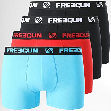 Freegun - Lot De 4 Boxers Ultra Stretch Noir Bleu Marine Rouge