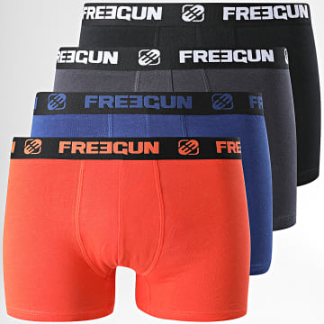 Freegun - Lot De 4 Boxers Ultra Stretch Noir Bleu Marine Orange