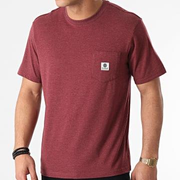 Element - Tee Shirt Poche Basic Pocket Label Bordeaux Chiné