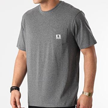 Element - Tee Shirt Poche Basic Pocket Label Gris Anthracite Chiné