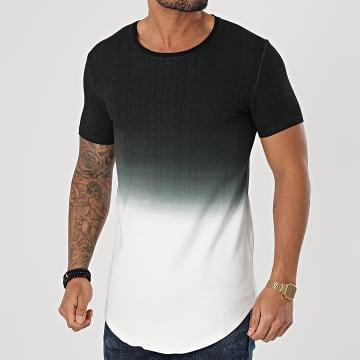 John H - Tee Shirt Oversize XW931 Noir Blanc Dégradé